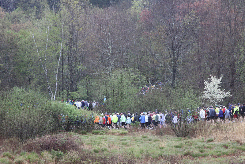 Leathermans Loop 10k trail run start 2010 - turning into the woods. (photo by Carol Gordon)